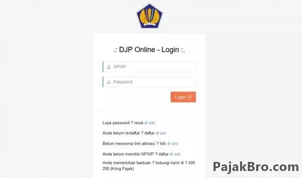 Log In e-Filing DJP Online