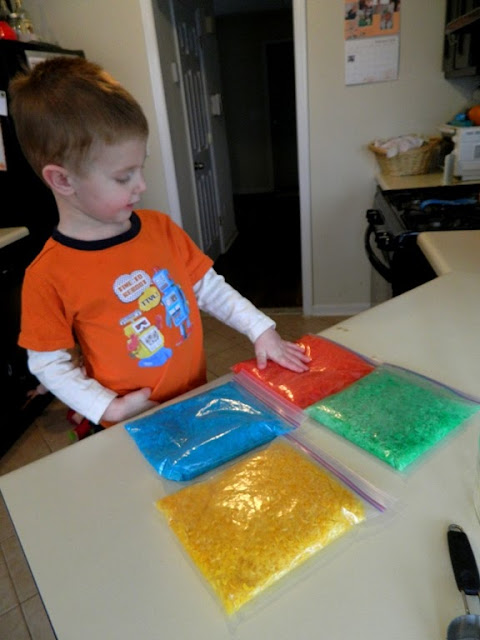 DIY Montessori Sensory Materials: Colored Rice