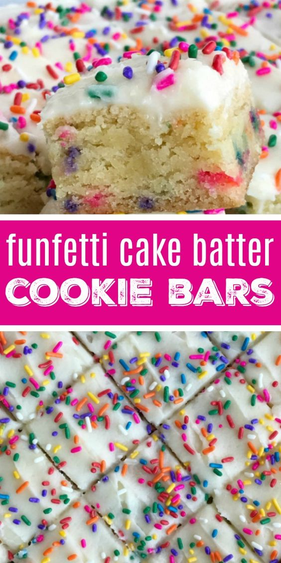 Funfetti Cake Batter Cookie Bars | Dessert Recipe | Cake Batter | Funfetti | Funfetti cake batter cookie bars are a sweet and tasty treat that only need 5 ingredients! So easy to make, loaded with colorful sprinkles, and tastes exactly like cake batter. These will be a hit with everyone.