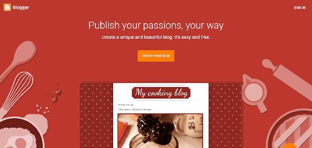 Google blogger, blogspot screenshot