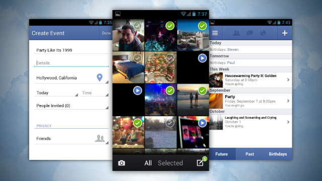 Facebook for Android Update Create Events