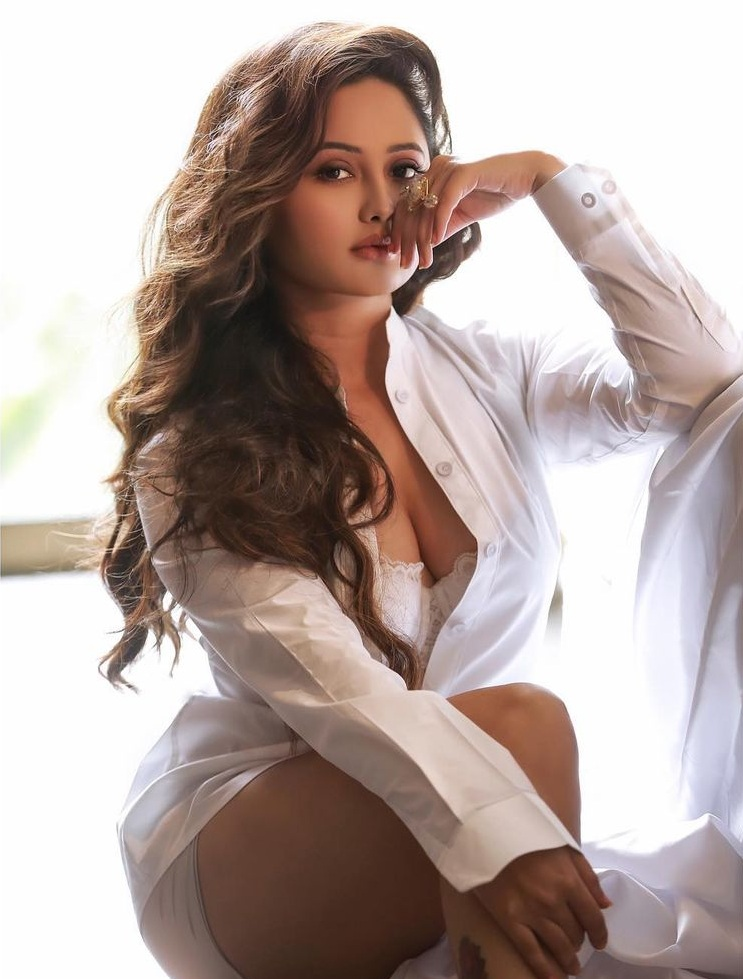 Latest photos of Rashmi Desai in a white shirt