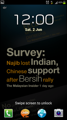 Live Wallpaper with Malaysia news on Galaxy S3