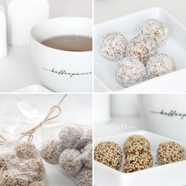 Power Balls mit Kokos und Sesam, Power Balls in Tütchen verpackt
