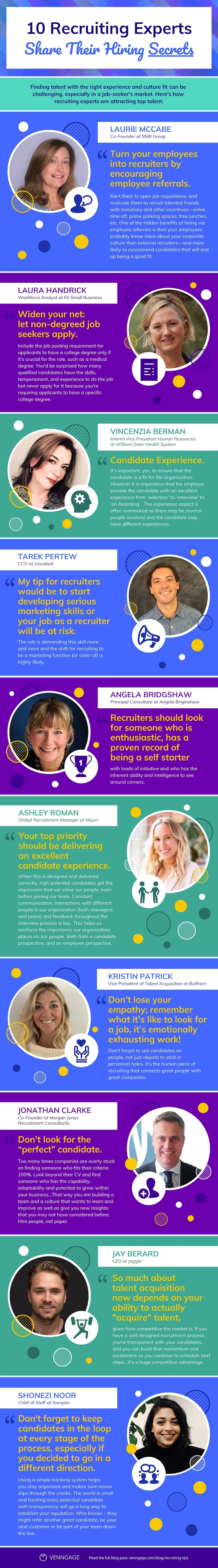 10 Hiring Experts Share Their Recruiting Tips #infographic