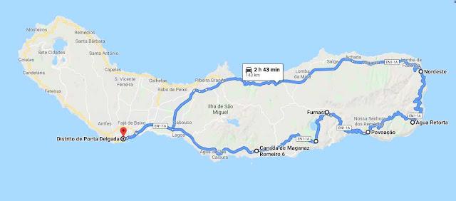ruta coche este San Miguel Azores