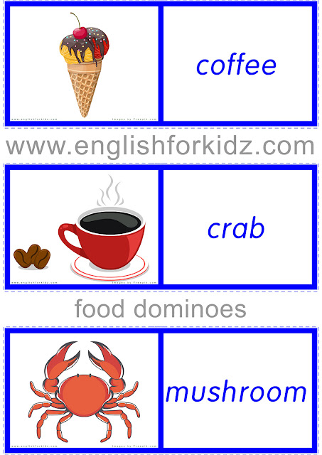 Printable ESL game to learn food topic -- domino