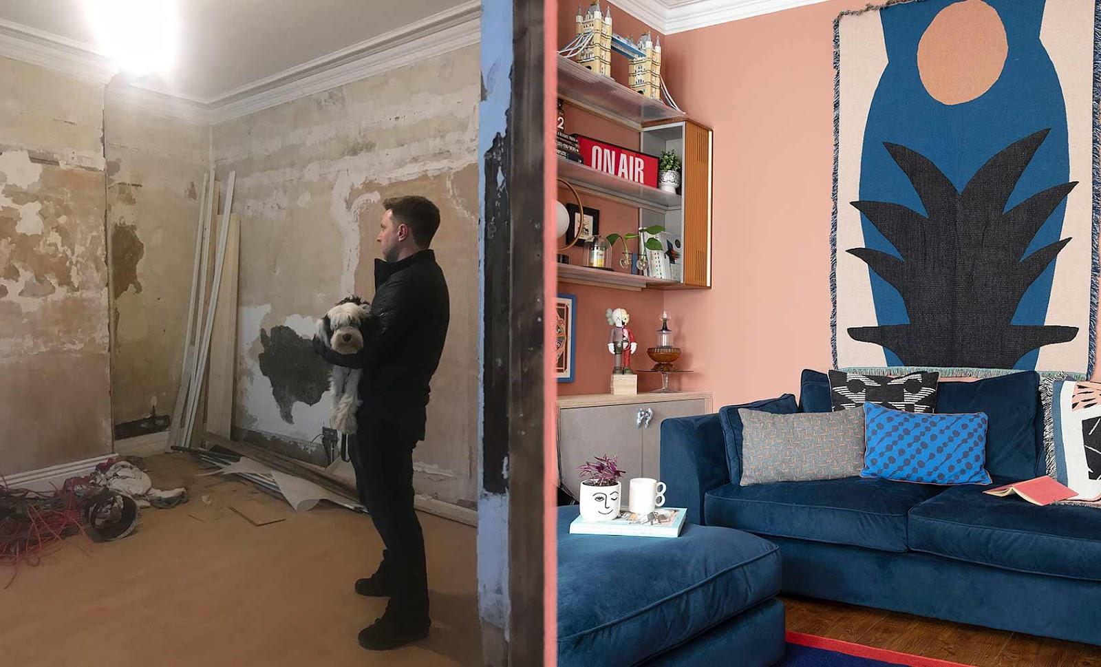 antes y despues de una casa colorida