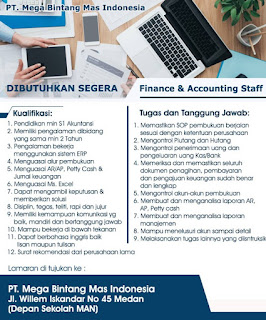 Staff Accounting dan finance PT Mega Bintang Mas Indonesia