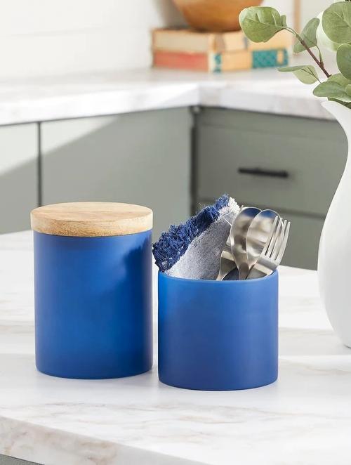 Coastal Blue Kitchen Canister Set Jars