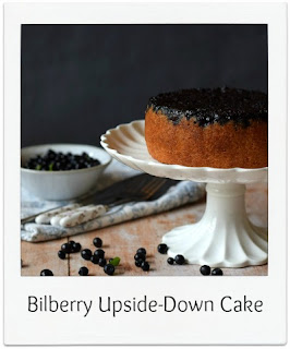 Upside-down cake recipes make for an interesting everyday cake.  They are incredibly easy to make and are great for an impromptu bake resulting in a great addition to an afternoon tea, with no need for any frosting allowing the fruit to create the interest.   This bilberry upside-down cake makes great use of foraged berries with additional flavour coming from the ground almonds and a touch of lemon zest.