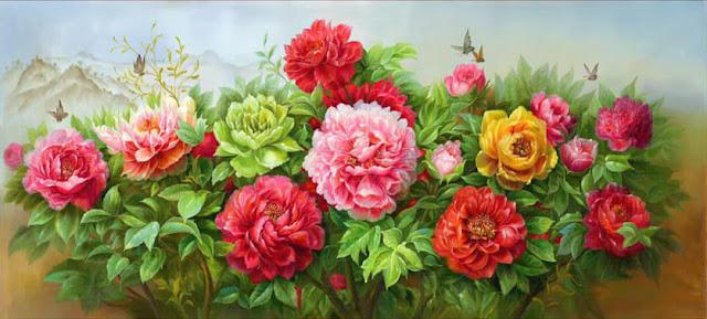 tranh sơn dầu vẽ hoa mẫu đơn