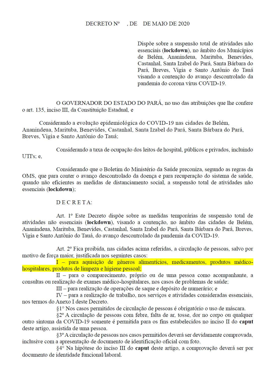 o decreto do governador