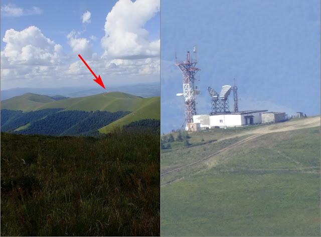 Метеостанция на горе Плай на минимальном и максимальном (30х) зуме фотоаппарата