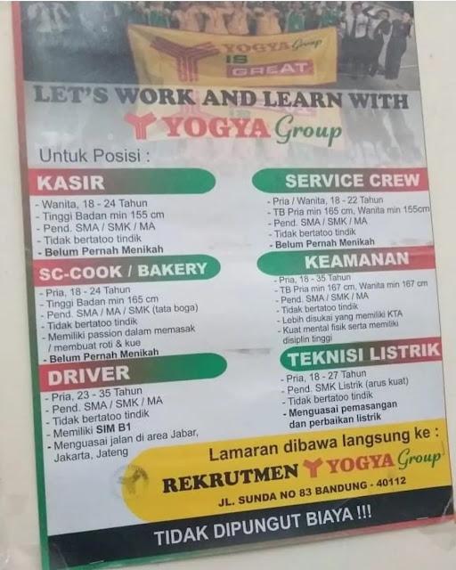 Info Loker Yogya Group Bandung jl sunda no 83 bandung