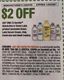 "$2.00/1 Garnier Skinactive Coupon from ""RetailMeNot"" insert week of 1/3/21."
