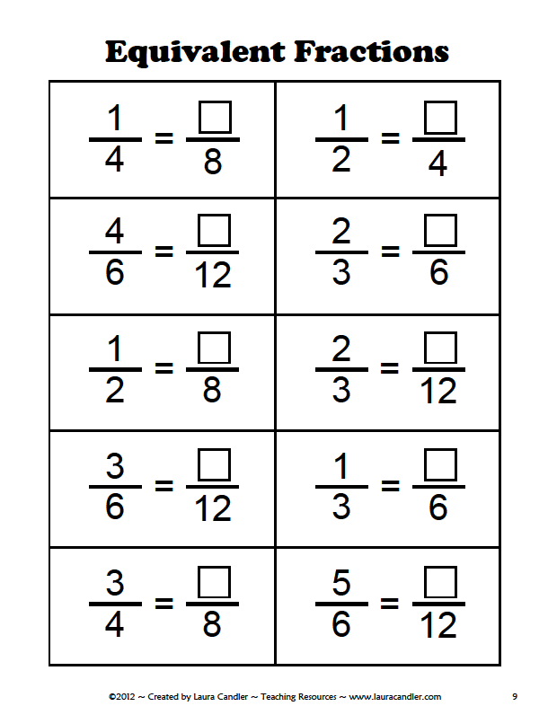 Mrs. White's 6th Grade Math Blog: EQUIVALENT FRACTIONS