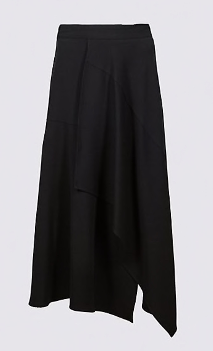 marks and spencer asymmetric panel detail wrap midi skirt