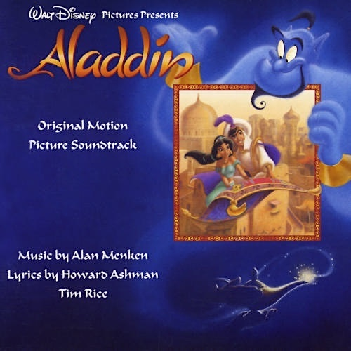 'Aladdin' soundtrack CD art of the Genie rising from his lamp holding a picture of Jasmine and Aladdin on their magic carpet