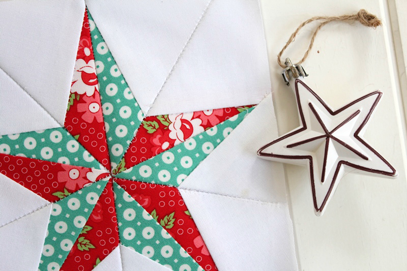 Christmas star free quilt block pattern threadbare