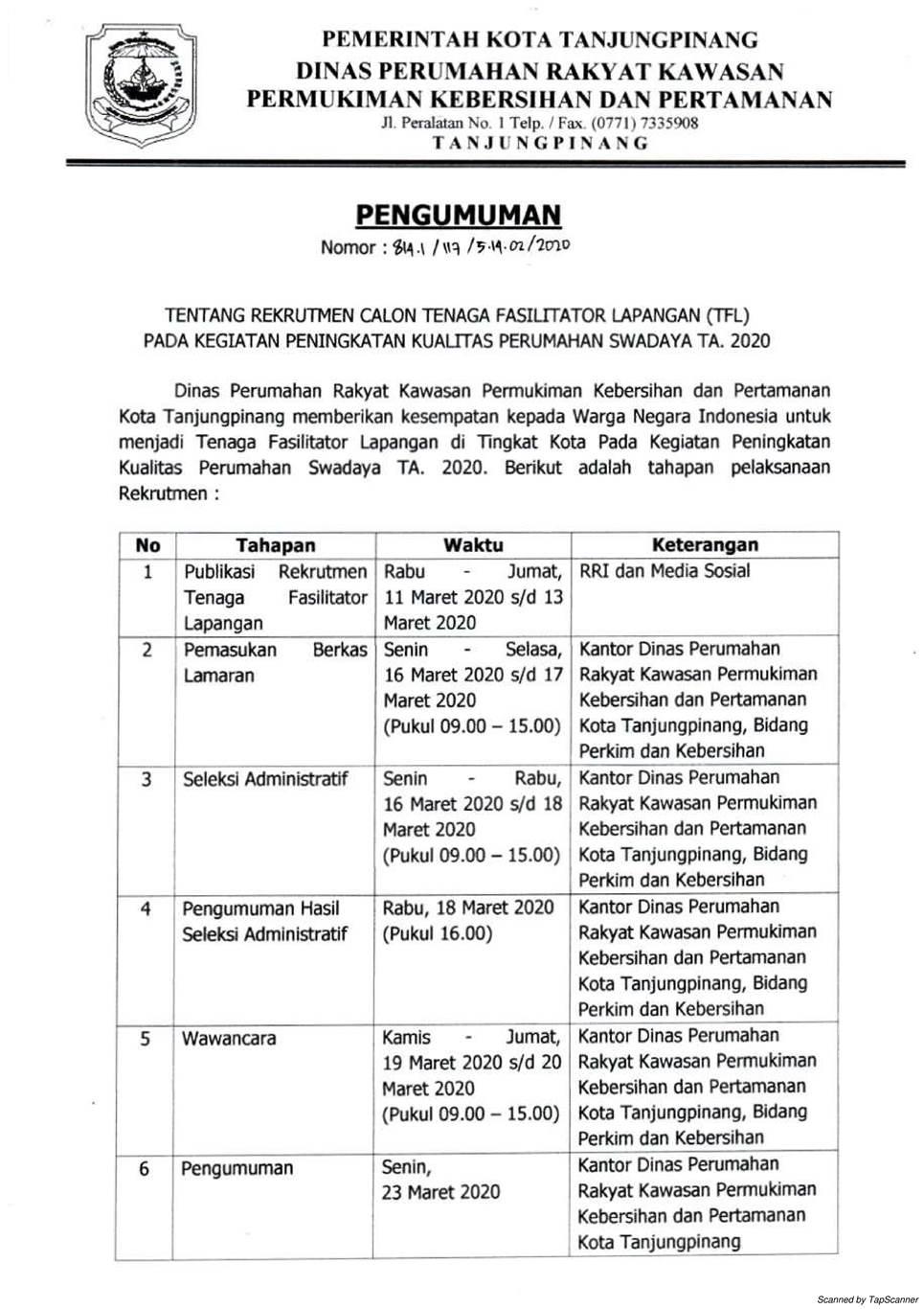 Rekrutmen Tenaga TFL Dinas Perumahan Rakyat Kawasan Permukiman Kebersihan dan Pertamanan Bulan Maret 2020