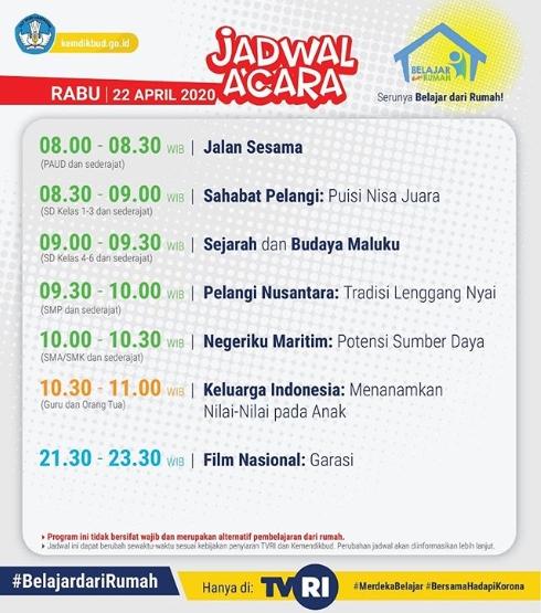 Jadwal Acara Belajar dari Rumah di TVRI Hari Rabu 22 April 2020