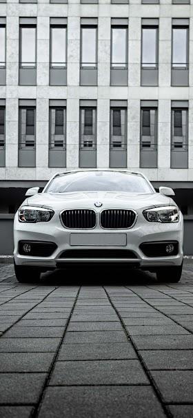 Shallow focus photo of white BMW car wallpaper