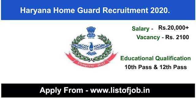Haryana Home Guard Recruitment 2020.