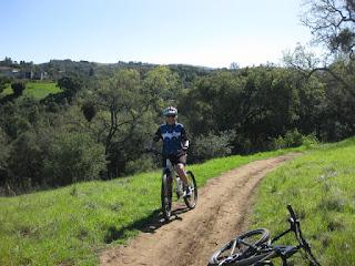 pep on a mountain bike, dirt trail, Arastradero Preserve, Palo Alto, California