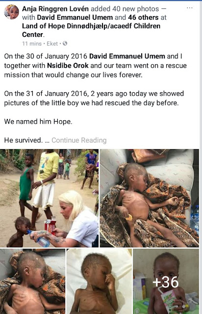 Danish aid worker marks two years since the rescue of child branded a witch in Akwa Ibom; shares photos of his incredible transformation
