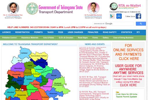 RTA Telangana Official Website
