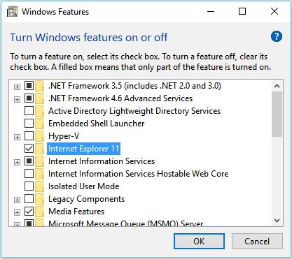 Nonaktifkan Internet Explorer