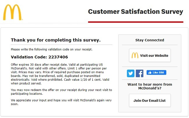 mcdonald customer satisfaction survey results
