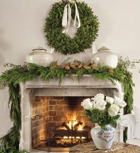 image result for Pam Pierce French Christmas fireplace decorating mantel greenery antiques