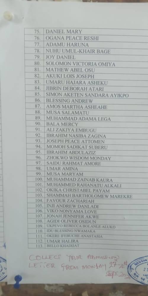 Nassarawa State School of Nursing Admission List 2021/2022