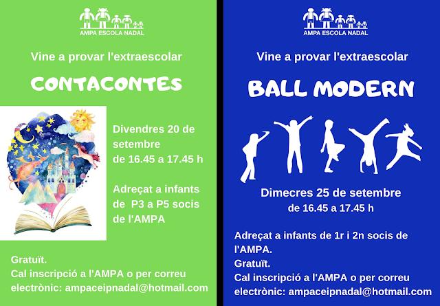 Imatges dels tastets de les activitats Contacontes i Ball modern