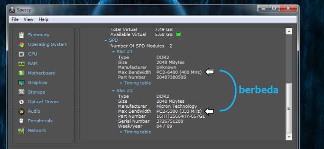 Cara melihat ram laptop berdasarkan slot SPD di speccy
