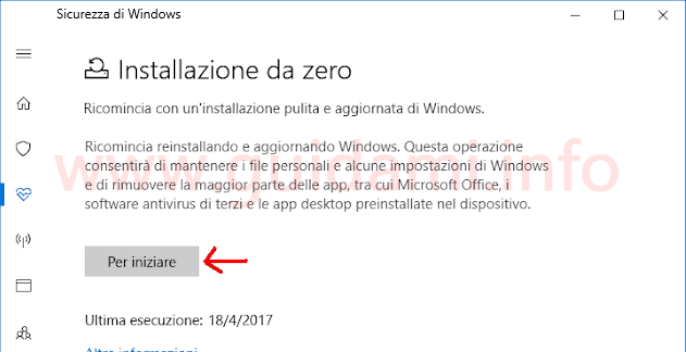 Windows 10 Windows Defender pulsante Per iniziare Installazione da zero