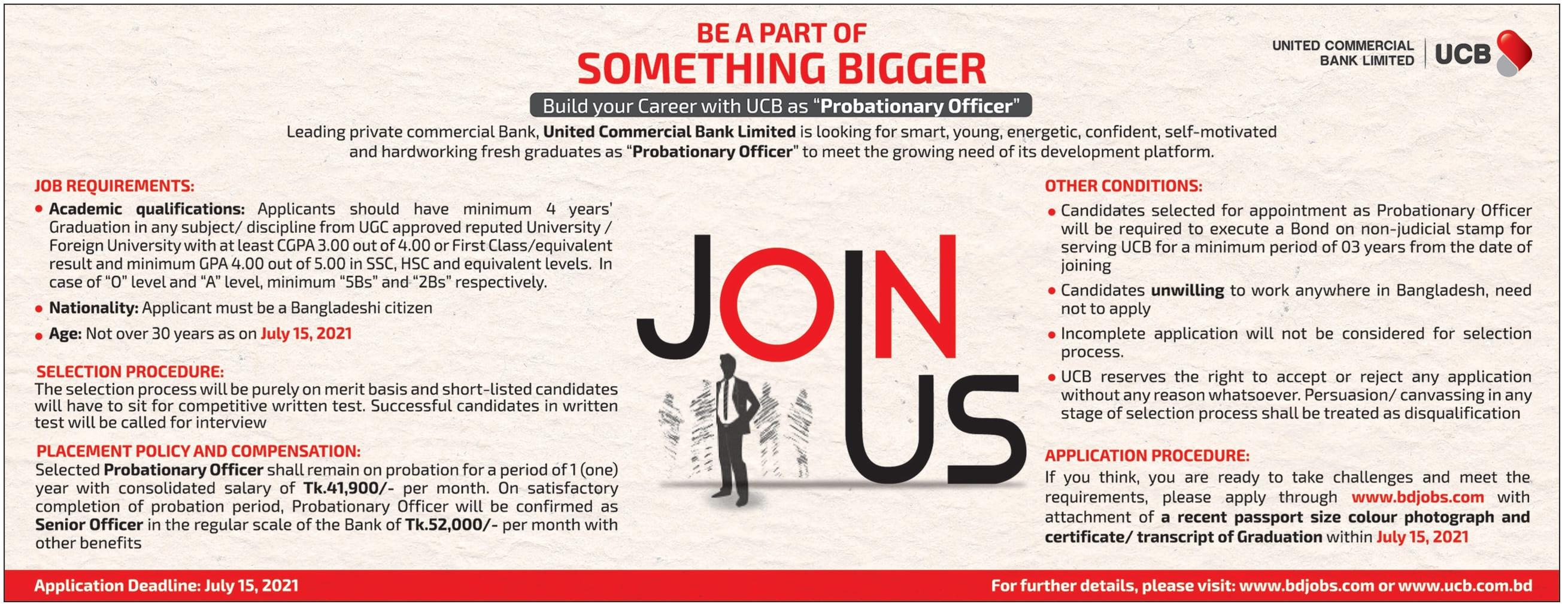 UCB Bank Job Circular 2021