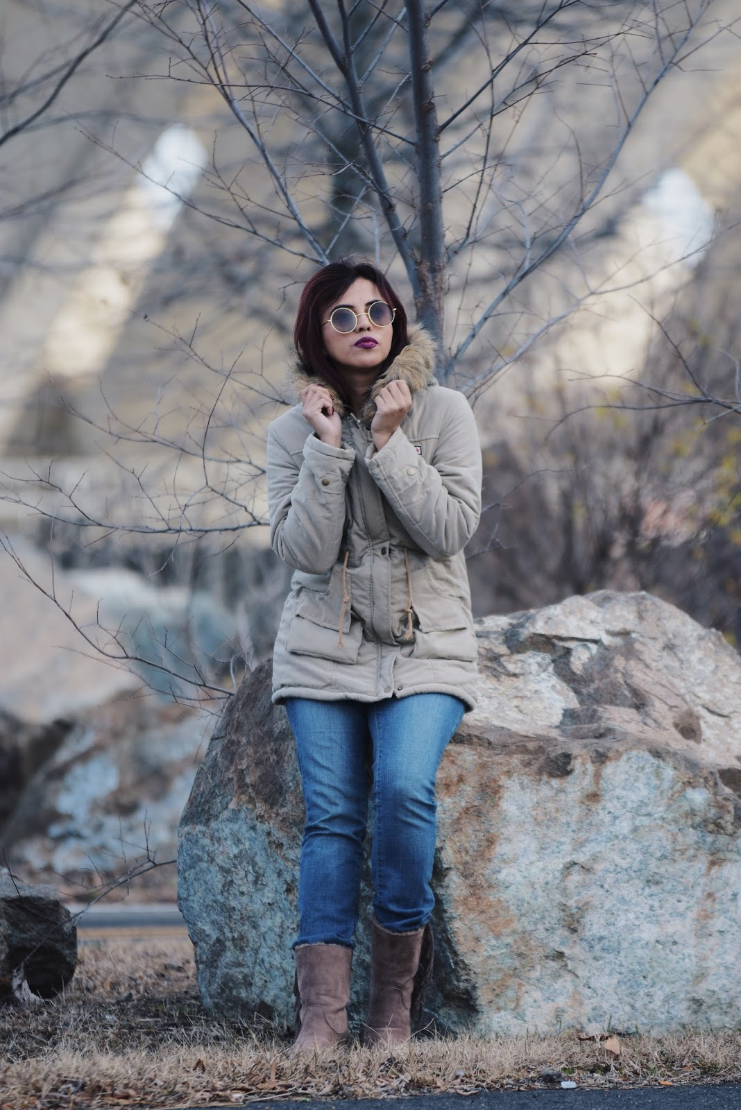 Faux Fur Parka Coat by Mari Estilo Wearing: Coat: SheIn Jeans: Hydraulic Jeans Boots: Rainbow