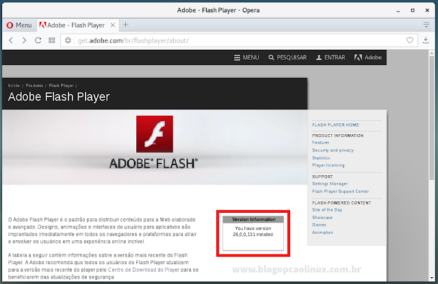 "Adobe Flash Player em execução no Opera (Debian 9 ""Stretch"")"