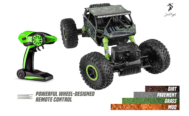 Jack Royal 1:18 Rechargeable Rock Crawler 4WD 2.4Ghz 4x4 Rally Car RC Monster Truck (Multi-Color) Green