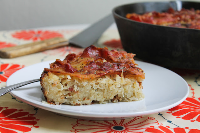 Food Lust People Love: This baba kartoflana or Polish potato pie is a super rich comfort dish baked with grated potatoes, eggs and bacon. It makes a great main course or side dish.
