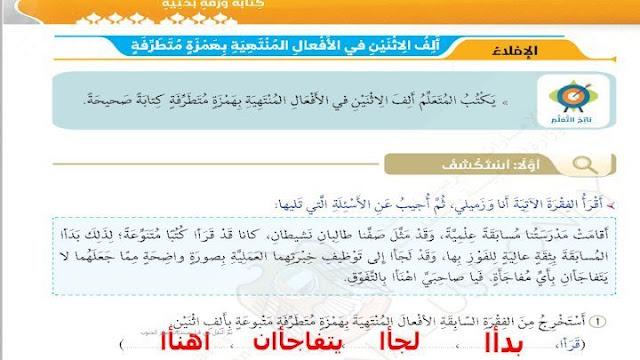 حل درس ألف الاثنين في الأفعال المنتهية بهمزة متطرفة لغة عربية