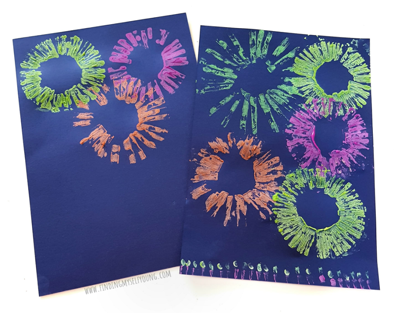 fireworks paintings using toilet paper rolls and crayola paint