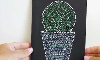 Libreta-Técnica-del-Puntillismo- Libreta y separador-de-cactus-Creando y Fofucheando