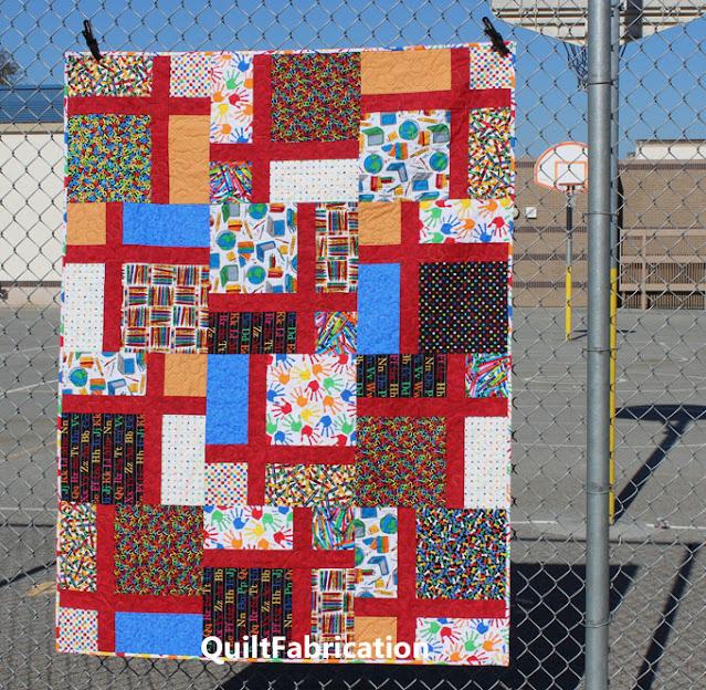 School Days quilt in many school themed fabrics