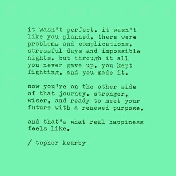 it wasn't perfect or like you planned. topher kearby