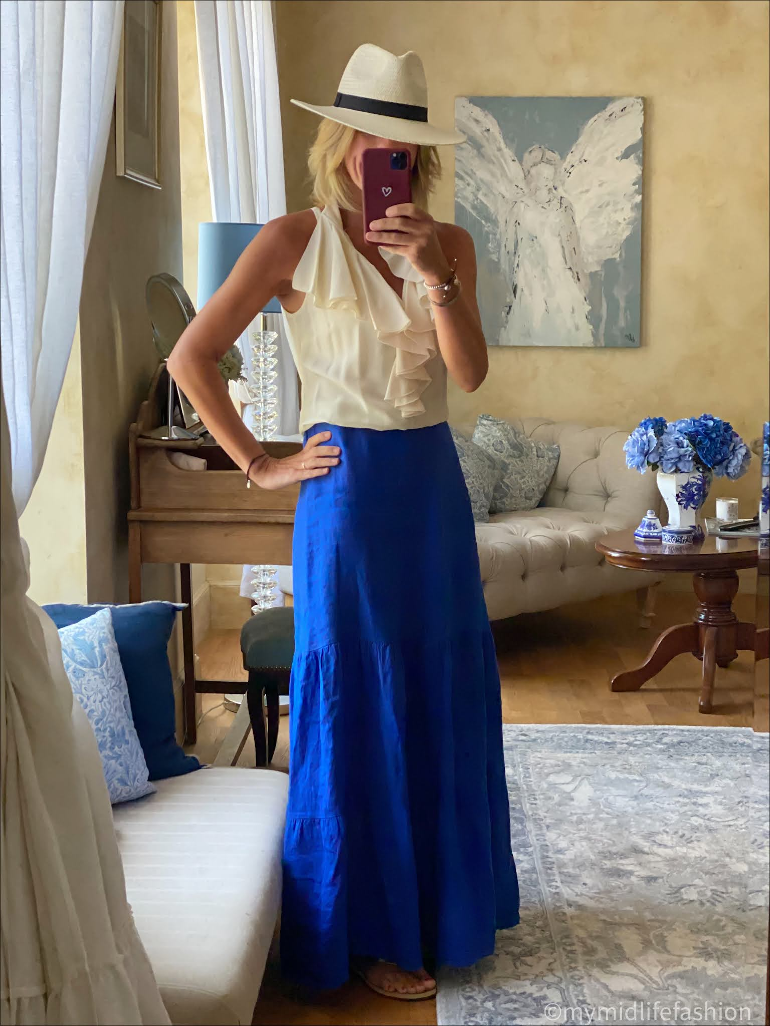 my midlife fashion, phase eight arvinder linen maxi skirt, silk ruffle blouse, speak out Chris braided leather flat sandals