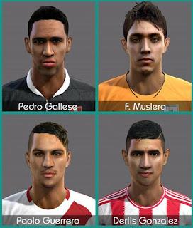 Faces: Derlis González, Pedro Gallese, Muslera, Paolo Guerrero, Pes 2013
